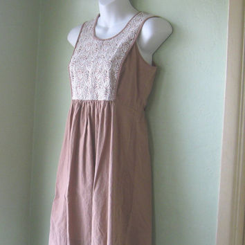 Large Girl's or XS Women's Cappuccino-Brown Dress - Lacy Front, Cotton Pinafore-Bodice Dress - Tan XS Cotton Mini Dress