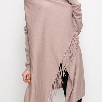 Lexa Fringe Knit Cardigan in Taupe