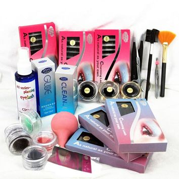 DIY Eyelashes Extension Kit  with Glue False Eyelash Full Kit Set Professional Eyebrow Make Up Set With Suitcase
