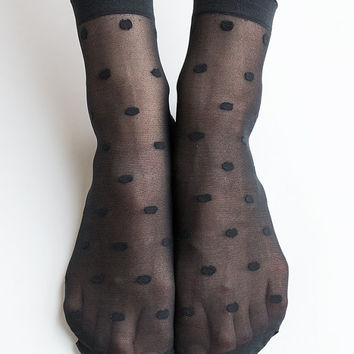Women New Hezwagarcia Super Sheer Polka Dot Cover See Through Casual Black Intimate Ankle Socks Stocking