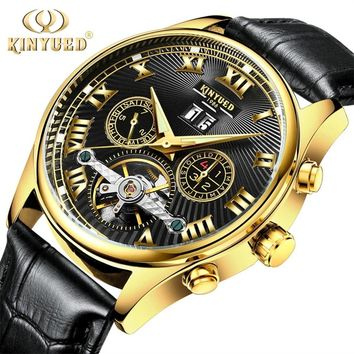 KINYUED Luxury Skeleton Automatic Men Watch Waterproof Flying Tourbillon Mechanical Watches Self Winding Horloges with Gift Box
