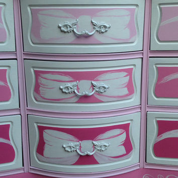 Ribbons and Bows Vintage French Provincial 9 drawer dresser