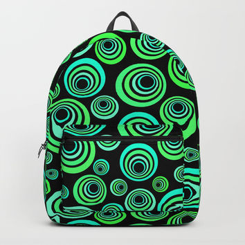 Neon blue and green Backpacks by IvaW
