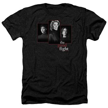 The Good Fight Heather T-Shirt Cast Headshots Black Tee