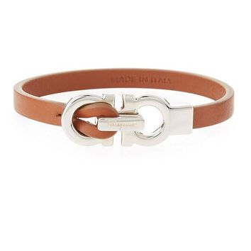 Tan Leather 'Gancini' Bracelet by Ferragamo
