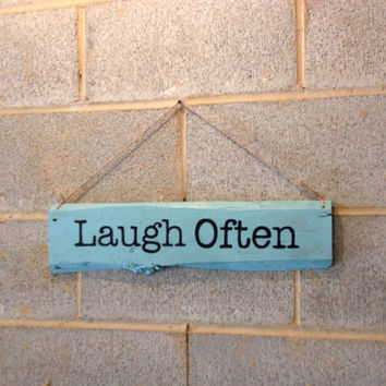 Hanging Pallet Sign - Laugh Often Sign, Beach Decor, Rustic Decor, Inspirational, Girl, Teenager, Home, Office, Bedroom, Bathroom, Blue
