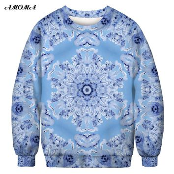 AMOMA Unisex Realistic Ugly Christmas Sweatshirt 3D Print O-neck Novelty Funny Pullover Snowflake