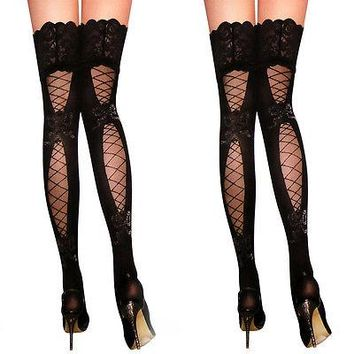 2016 sexy women stockings Lace Top Sheer Thigh High Silk Stockings solid Nylon Fishnet Mesh Pantyhose stocking