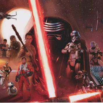 Star Wars Force Awakens Movie Cast Poster 22x34