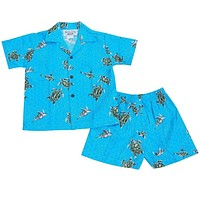turtle teal hawaiian boy cabana set