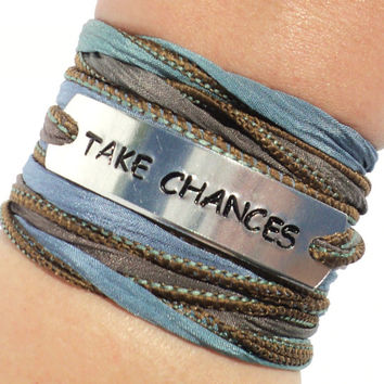 Take Chances Silk Wrap Bracelet Live Life Risks Words Inspirational Jewelry With Meaning Engraved Yoga Unique Gift For Her Under 50 C18