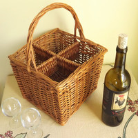 Wine Bottle Basket, Brown Natural Wicker Wine Rack, 4 Slot Vintage Woven Reed Carry Tote, Picnic Basket