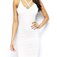 White Sleeveless Strappy V-Neckline Bodycon Dress
