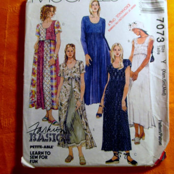 Sale Uncut 1994 McCall's Sewing Pattern, 7073! Xsm/Sml/Medium Women's/Misses/Petite-able/Empire Waist Dress/Lace Overlay/Trimmed Underskirt