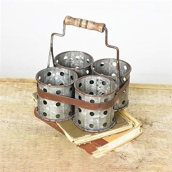 Four Utensil Metal Bin Caddy with Wooden Handle