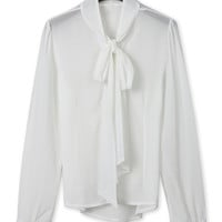 White Tied Neck Long Sleeve Blouse