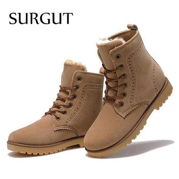 SURGUT Brand 2017 Fashion Winter Shoes For Men Suede pu Leather Snow Men Boots High Quality Comfy Casual Shoes Men Size 35-44