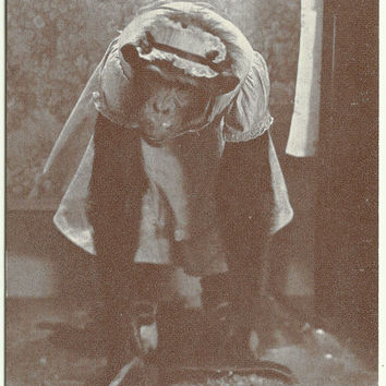 "Antique Postcard very Early 1900's ""A Women's Work is never done."" Monkey dressed up like woman sweeping up dirt into dustpan Black & White"
