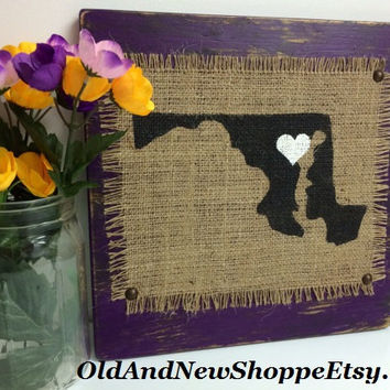 MARYLAND, State of Maryland Burlap Sign, Rustic Primitive Maryland, Burlap Painted State Cottage Style Sign, BURLAP Maryland/MD State Sign
