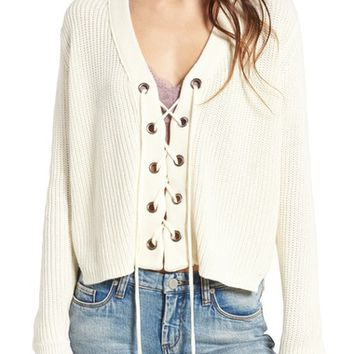Lush Lace-Up Sweater | Nordstrom