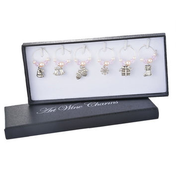 1Box Pink Pearl Christmas Pendant Wine Glass Charms Christmas Dinner Table Decoration For Home Outdoor Party Antique Silver Tone