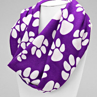 Paw Print Scarf, Purple Animal Paw Print Orange Infinity Scarf