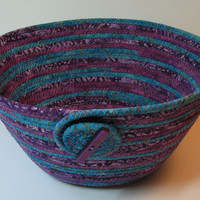 Handmade Coiled Fabric Basket/Bowl, purple/turquoise