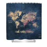 Blue World Map Shower Curtain