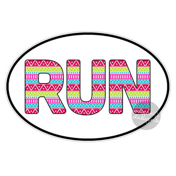 Girly Run Car Sticker - Runner Marathon Car Decal Oval Vinyl Window Bumper Sticker Run Colorful Tribal Pattern Athlete Car Laptop Wall Decal