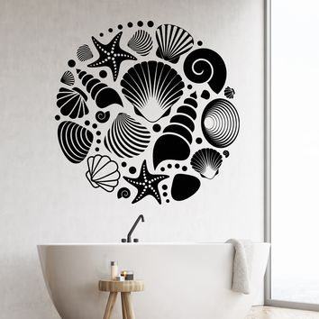 Vinyl Wall Decal Ocean Sea Seashells Style Bathroom Decor Stickers Unique Gift (2065ig)