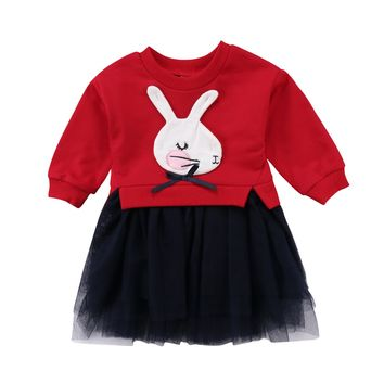 Cute Bunny Newborn Baby Girl Rabbit Long Sleeve Knit Tutu Dresses Kids Party Prince Dresses 0-5T