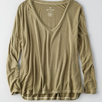 AEO Soft & Sexy Drop Shoulder T-Shirt, Olive