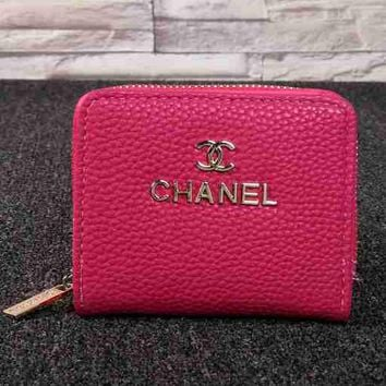 CHANEL Women Fashion Leather Zipper Mini Wallet Purse