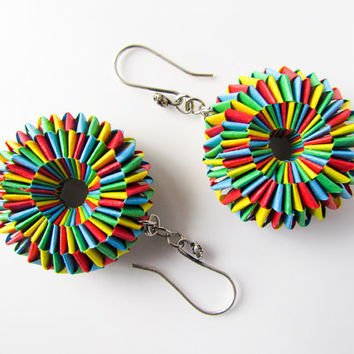 Origami jewelry –Paper donut earring/ red blue green yellow –First anniversary Statement earring/ paper jewelry colorful paper weave earring