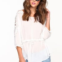GATHERED CROCHET CHIFFON BLOUSE
