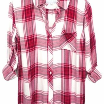 Rails Hunter Plaid Shirt in Raspberry/White