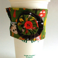 Mushrooms Coffee Cup Cozy / Mushroom Drink Sleeve