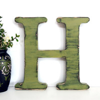 Wooden Letter H (Pictured in Sage) Pine Wood Sign Wall Decor Rustic Americana French Country Chic