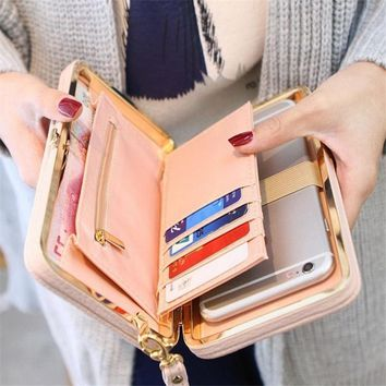 XU Large Capacity Women Bowknot Wallets Bow Tie Pocket Long Section Zipper Purse Phone Card Holder Clutch Wristlet