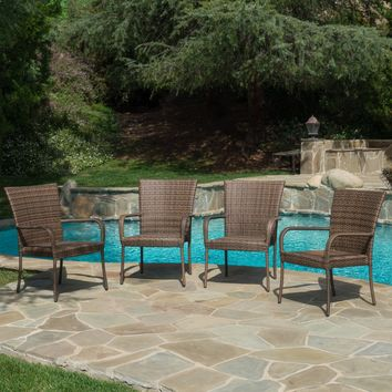 Chrystie Outdoor Mixed Mocha Wicker Stackable Club Chairs (Set of 4)