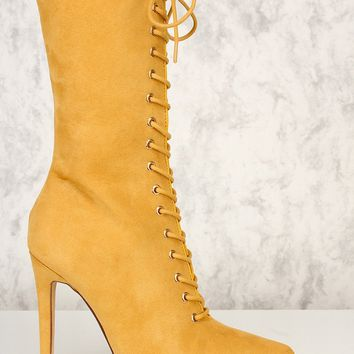 Selina Lace Up Bootie - Camel