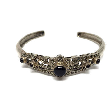Silver Cuff Bracelet Black Onyx and Marcasite, Narrow Cuff Bracelet, Openwork Silver Bangle, Vintage Silver Jewelry,