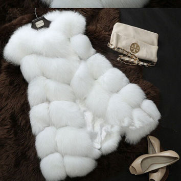 Winter Coat Women Fur Vest  With a Pocket  High-Grade Faux  Fur Coat Leisure Women Fox Fur Long Vest Plus  Size:S-XXXXL
