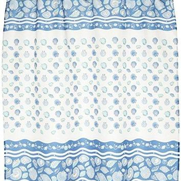 BenandJonah Collection Fabric Shower Curtain 70 x 72 inch  Seashell Light Blue