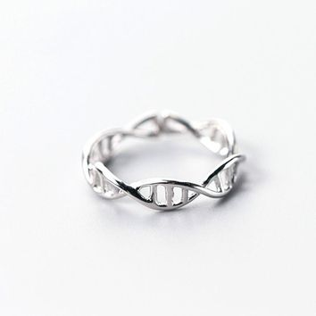 S925 Sterling Silver Simple Double Double Line Cross Opening Ring J3094  171204