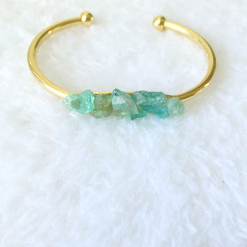 Raw Apatite Cuff, Bracelet, Gold, Natural Crystal Stone, Blue, Green Gemstone, Rough, Nugget, Minimalist, Edgy
