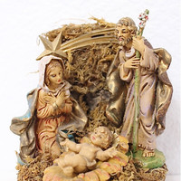 """Holy Family Nativity Figurine Made in Italy Music Original Antique Hand Painted Plays 'Silent Night"""" Christmas Decor"""