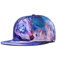 Arctic Crystal Wolf Snapback Hat