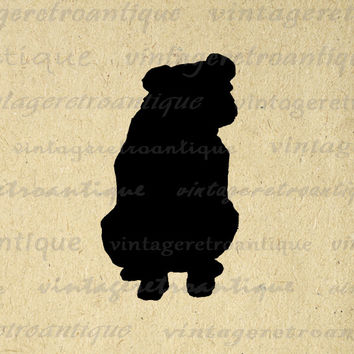 Dog Silhouette Printable Image Download Illustration Digital Graphic Antique Clip Art for Transfers Printing etc HQ 300dpi No.3306