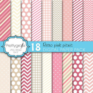 18 bright colors digital paper pack, commercial use, scrapbook papers, instant download, polka dots, chevron, gingham, stripes - PGPSPK619